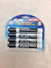 Expo Bold Color Dry Erase 3-way Chisel Tip Markers Low Odor Black 4pk