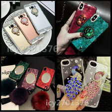 Handmade Bling crystals Diamonds Stand Mirror Soft Phone Cases Skin For HUAWEI 8