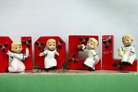 Vintage 1956 Napco Happy Yuletide Quartet NOEL Angel Candle Holders Original Box
