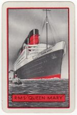 Playing Cards 1 Swap Card - Old Vintage RMS QUEEN MARY Ship CUNARD SHIPPING Line