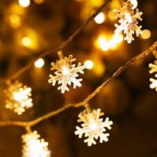 Dailyart Christmas String lights 13ft/4m Snowflakes Warm White Decor Battery Op