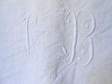 drap ancien en lin en 2 lès monogramme CB 200x300cm n°3