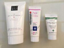 Tres Productos de piel premier el ritual de Sakura, Ultrasun, Ren cuidado de la piel
