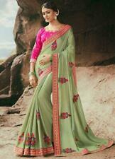 Green Pink Floral Emrboidered Bollywood Designer Saree Party Wear Indian Sari