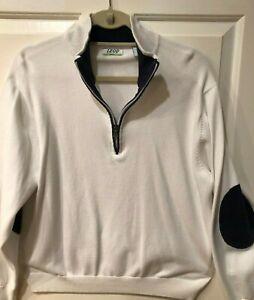 Mens Large IZOD Pullover Top Light Fleece White Navy Long Sleeve 1/4 Zip - Nice!