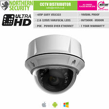 4MP 4 MEGAPIXEL 2.8-12mm FULL HD 1080P POE AUDIO IR VANDAL DOME IP CAMERA CCTV