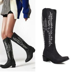 US Women Embossed Zipper Block Heel Cowboy Mid Calf Knee High Knight Boots 34-45