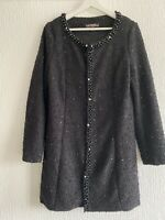 BLACK BOUCLE CARDIGAN BEADED 12 TOWIE CELEB WINTER BOHO GLAM POSH SMART FANCY