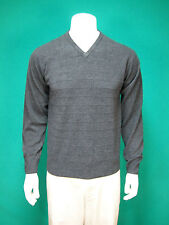 Mens Dockers 100 % Acrylic V-Neck Sweater Dark Gray SZ M EUC!!