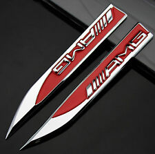 2pcs Auto car Dagger Fender Emblems Sticker fit for Red AMG A B C E S GLC series