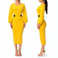 Womens Dress Bodycon Office Wear Long Sleeve Evening Cocktail Midi Skirt Slit