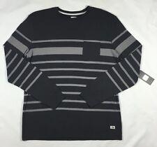 NWT Men's Quiksilver Gray Snit Crew Stripe Fleece Long Sleeve Knit Pullover