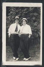 RPPC 10s TEENAGE GIRLS DRESS as MEN with HATS Ties SUIT PANTS GAY Cross Dressing