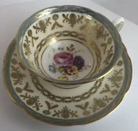 Royal Grafton Fine Bone China Cup Saucer Blue/Gold Accents Roses, England