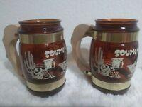 (2) Vintage 1960s Siesta Ware Brown Beer Glass Mug Wooden Handle South Carolia