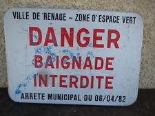 Ancien Panneau Signalétique danger baignade interdite usine atelier