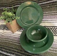 "Vtg Green White Speckled Enamel Metal 10"" Plates & 6"" Bowls Camping RV Home 6pcs"