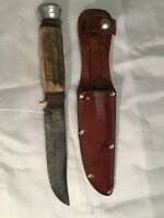 VINTAGE 50s BLUE STEEL HUNTING KNIFE WITH SHEATH MODEL 974-13-S