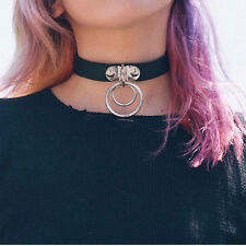 Women's Retro Chic Punk Rock Double O Ring Black Leather Choker Necklace Collar