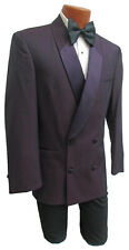 Men's Purple Double Breasted Tuxedo Jacket Retro Vintage Prom Wedding Groom 38R