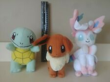 "Lot of 3 Pokemon Plush 7"" Squirtle Eve Sylveon Official tagged"