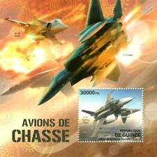 F-16 FIGHTING FALCON/F-15 Eagle/JAS 39 Gripen AIRCRAFT TIMBRE FEUILLE (2012-Guinée)