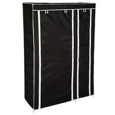 Armadio in tessuto doppio in tela guardaroba vestiti pieghevole campeggio nero