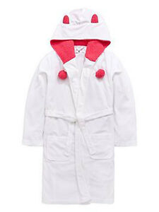 V BY VERY LIGHTWEIGHT POM POM DRESSING GOWN WIGHT SIZE 13 YEARS VR05 A45