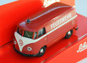 """VW T1 Van Year 1959-1967 """" Fire Brigade """", Red, Schuco-Modell IN M.1: 64, Boxed"""
