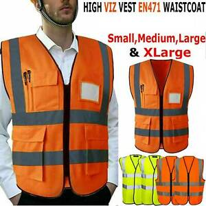 Men's Hi Vis High Visibility Reflective Jacket Work Wear Hoodie Safety Waistcoat