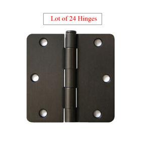"Lot of 24 Oil Rubbed Bronze 3.5"" w 1/4"" Radius Door Hinges Interior Brushed 3"""
