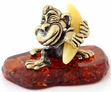 """Funny Monkey with Banana Brass Figurine Sculpture Honey Baltic Amber Base 1 3/4"""""""