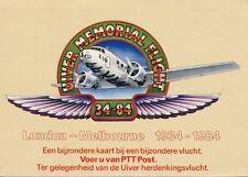 "Geïll. briefkaart KLM herdenkingsvlucht DC-2 ""Uiver"" Londen-Melbourne (1984)"
