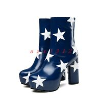 Women Round Toe Platform High Block Heel Star Ankle Boot SHoe Leather Party New