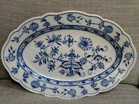 "Vintage MEISSEN GERMANY Blue Onion  Large Oval Platter 14"""