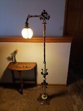 Beautiful Antique 1930's Green Slag Marble / Jadeite Glass Art Deco Floor Lamp