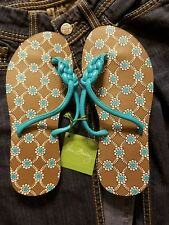 Vera Bradley Flip Flops Totally Turq Size 7 for Pool Beach Home Vacation