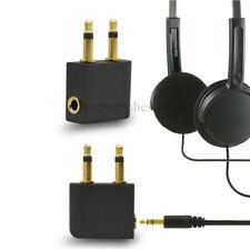 2x Airplane Inflight 3.5mm AUX Socket Plug Headphone Earphone Converter Adapter