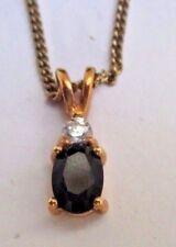 bijou vintage chaîne pendentif plaqué or cristal zircon véritable onyx griffé 12