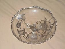 VINTAGE LARGE SILVER OVERLAY CLEAR GLASS THREE FOOTED  CENTERPIECE BOWL