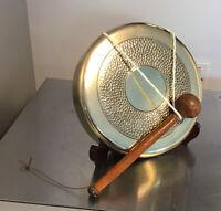 """Antique Hand Made Brass Dinner Gong 7"""" DIAMETER + 7"""" BEATER"""
