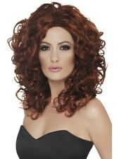 Auburn Brown Long Curly Fantasy Wig Ladies Fancy Dress Accessory