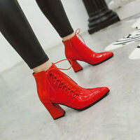 Womens Shiny Leather Pointed Toe Lace Up Ankle Riding Boots High Block Heels