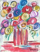 ORIGINAL Flowers Still Life Folk Outsider Art Flowers- Still Life Painting