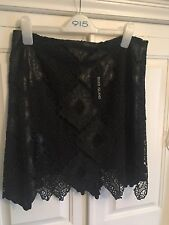 RIVER ISLAND Lace And Leather Look Mini Skirt Size 14 BNWT