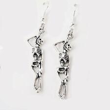 Vintage Silver Alloy Dangle Dangling Gothic Skull Earrings 925 Sterling Hooks