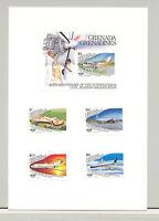 Grenada Grenadines #652-656 ICAO Aviation 4v & 1v S/S Imperf Proofs on 1v Card