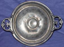 Antique ornate floral metal pedestal bowl platter