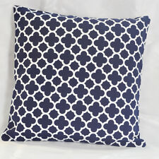 Navy Quatrefoil Print Geometric Cotton Canvas Throw PillowcCase Cushion Cover