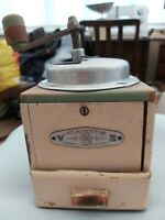 French Vintage V Klavertaje E Coffee Grinder Wood Base Green/cream Metal Top